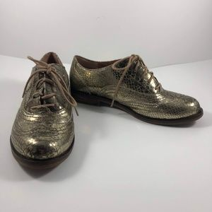 Lucky Brand Gold Shoes Lace Up Sz 6.5